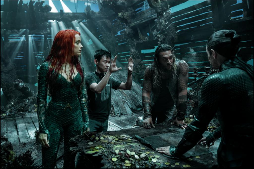 Amber Heard, James Wan, Jason Momoa and Willem Defoe on the set of Aquaman