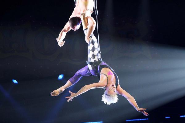 Pink Beautiful Trauma Funhouse tour trapeze