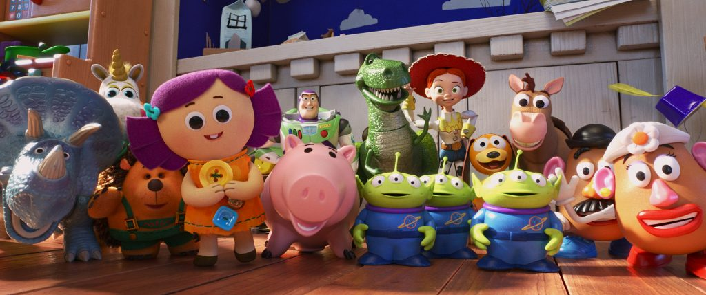 Trixie, Buttercup, Mr. Pricklepants, Dolly, Buzz Lightyear, Hamm, Rex, Aliens, Jessie, Slinky Dog, Bullseye and Mr. and Mrs. Potato Head in Toy Story 4 Disney