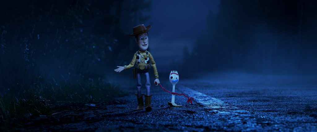 Tom Hanks as Woody and Tony Hale as Forky in Toy Story 4 Disney/Pixar