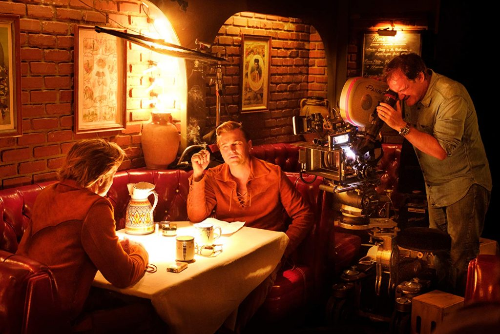 Brad Pitt, Leonardo DiCaprio, and Quentin Tarantino in C'era una volta a Hollywood