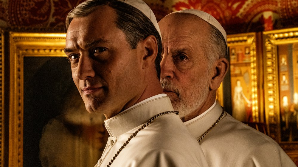 Jude Law and John Malkovich in The New Pope (Giamni Fiorito/Wildside)