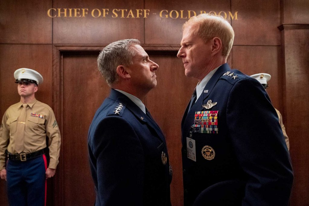 Loud and Clear Reviews SPACE FORCE (L TO R) STEVE CARELL as GENERAL MARK R. NAIRD and NOAH EMMERICH as KICK GRABASTON in episode 103 of SPACE FORCE Cr. AARON EPSTEIN/NETFLIX © 2020