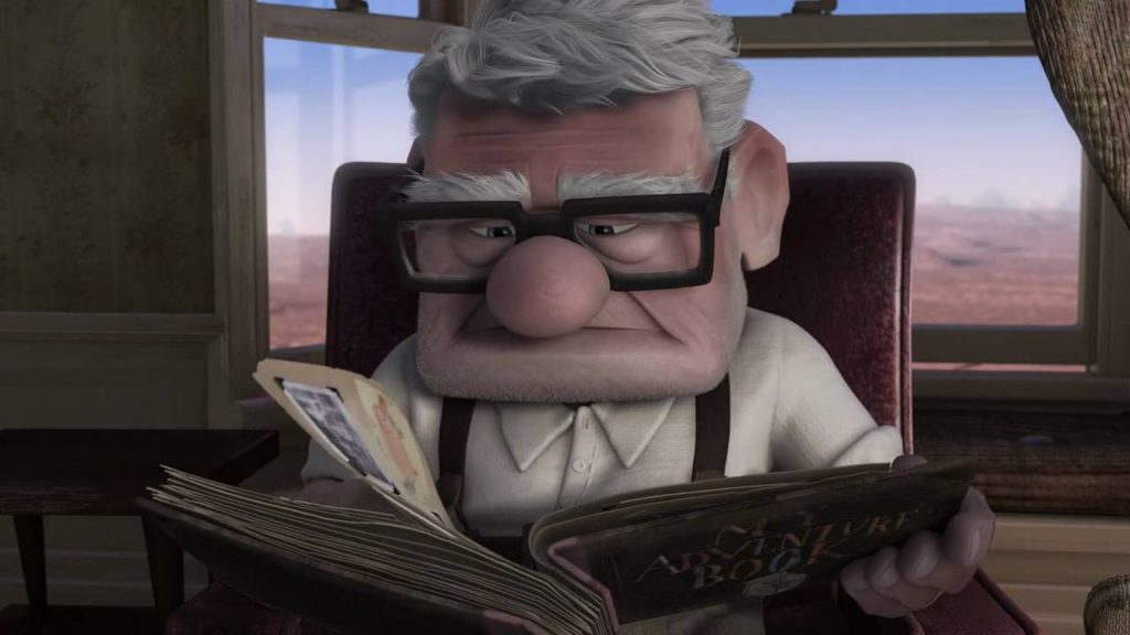 loud and clear reviews pixar Up carl with book