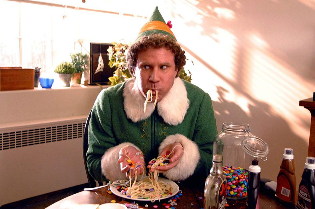 loud and clear reviews festive dishes movies elf will ferrell spaghetti
